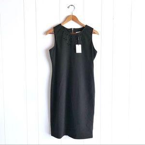 NWT Calvin Klein Black Sheath Dress Laser Cut Neck